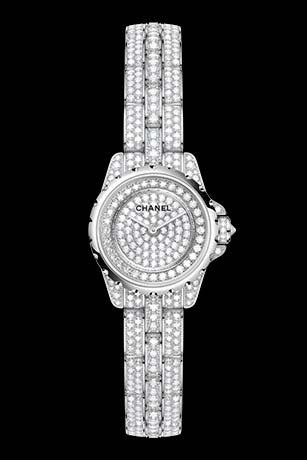 J12 XS High Jewelry in white gold, case, dial, bezel and bracelet set with brilliant-cut diamonds.