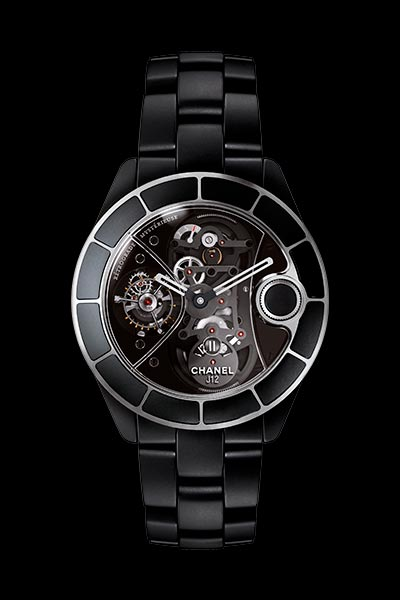 J12 Rétrograde Mystérieuse watch in matte black ceramic, rétrograde mystérieuse caliber and APRP for CHANEL tourbillon, retractable crown.