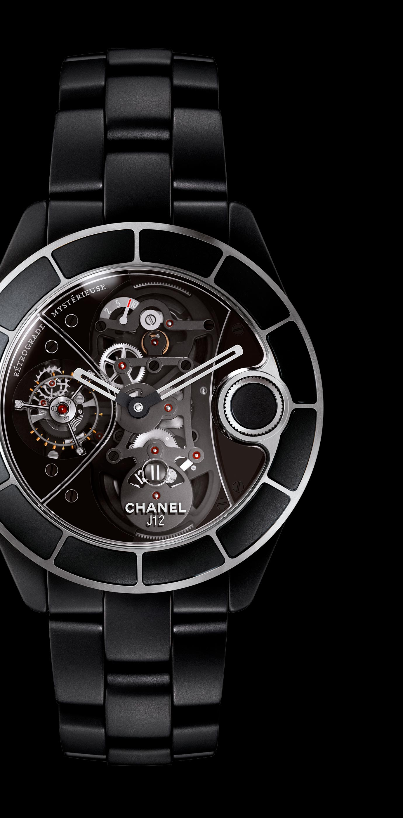 J12 Rétrograde Mystérieuse watch in matte black ceramic, rétrograde mystérieuse caliber and APRP for CHANEL tourbillon, retractable crown. - Enlarged view