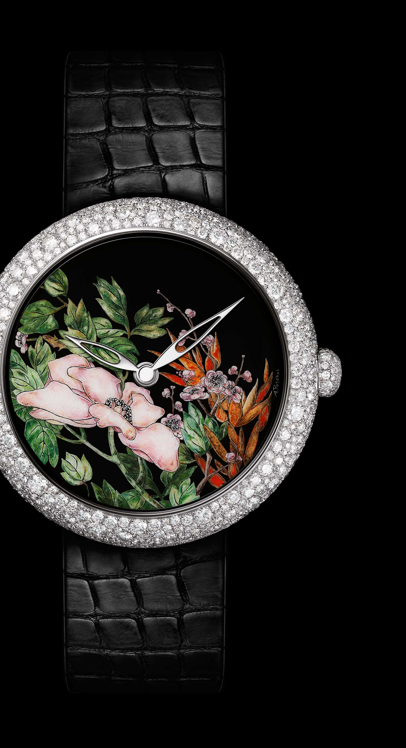 Mademoiselle Privé Coromandel watch in 18K white gold set with diamonds created using the Grand Feu enamel miniature technique - Enlarged view