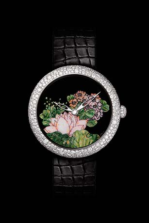 Mademoiselle Privé Coromandel watch in 18K white gold set with diamonds created using the Grand Feu enamel miniature technique.