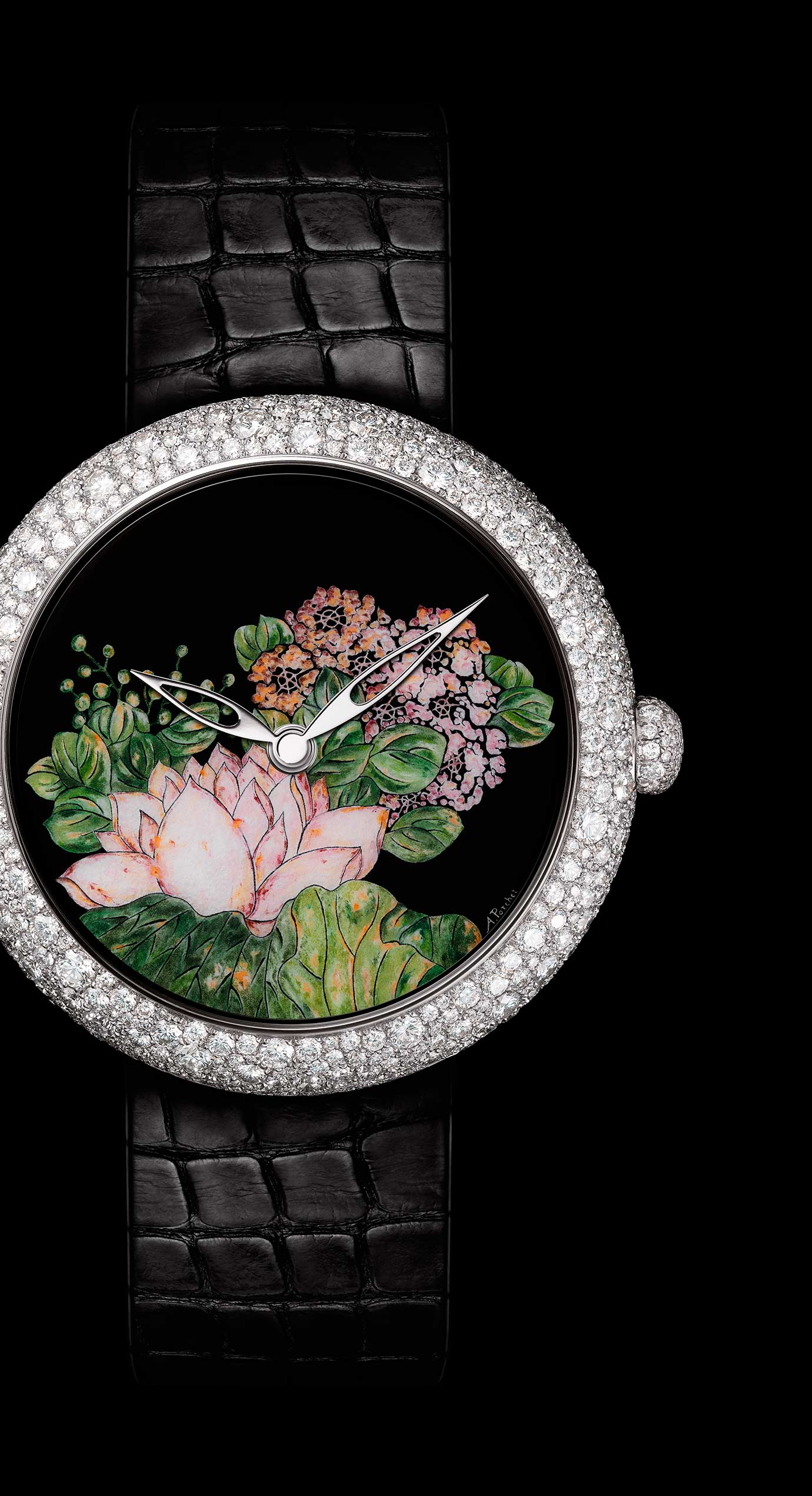 Mademoiselle Privé Coromandel watch in 18K white gold set with diamonds created using the Grand Feu enamel miniature technique. - Enlarged view