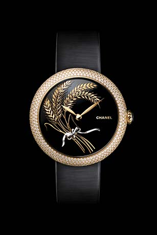 Mademoiselle Privé Les Blés de CHANEL Fine Jewellery watch - Onyx and sculpted gold