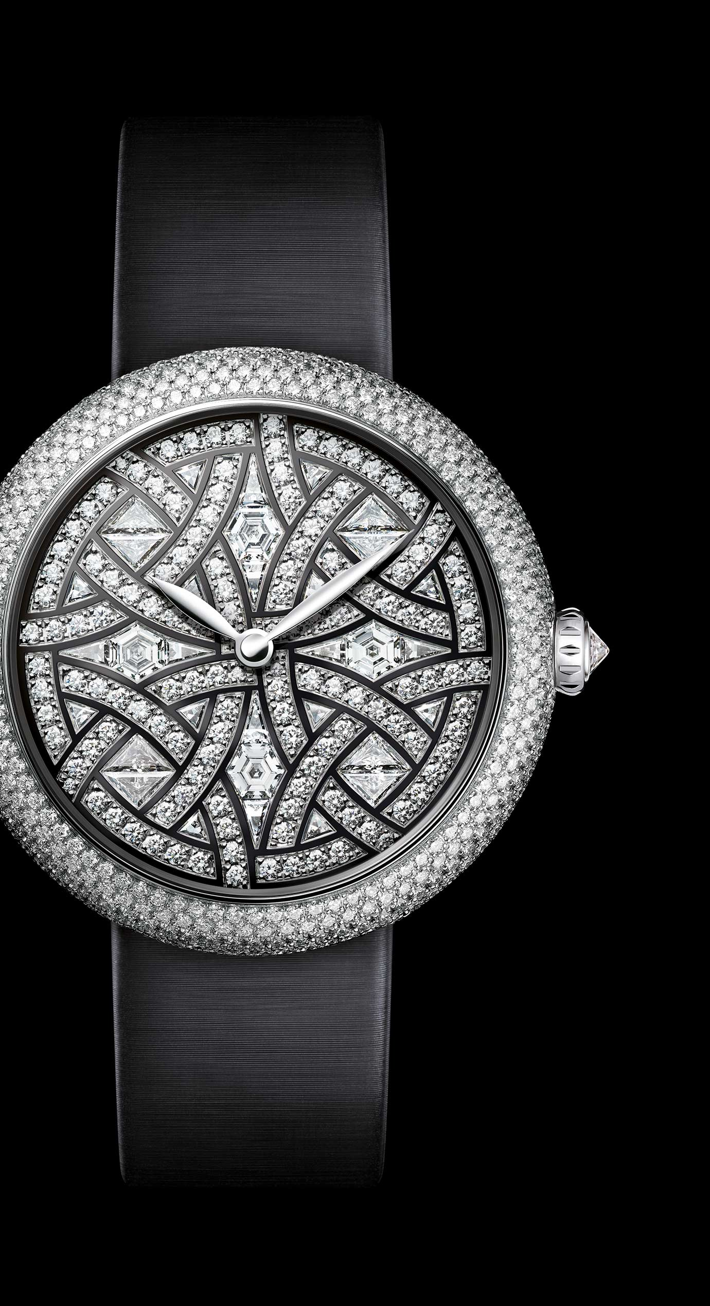 Mademoiselle Privé Bijoux de Diamants Plume Jewellery watch - mother-of-pearl marquetry and diamonds. - Enlarged view