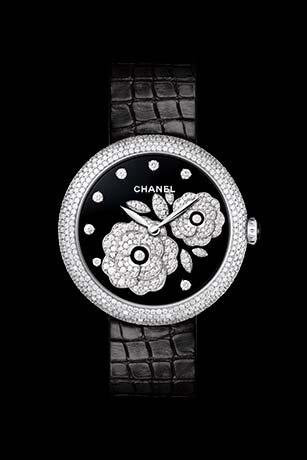 Mademoiselle Privé Bouton de Camélia Fine Jewellery watch - Grand Feu black enamel and diamonds