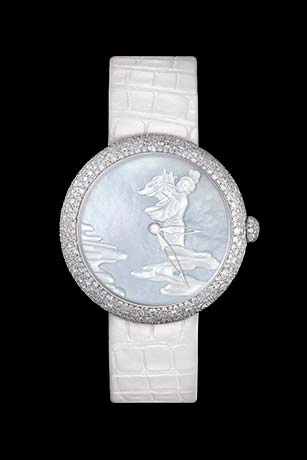 Mademoiselle Privé Coromandel 'Douce Mélodie' watch in white gold with snow set diamonds. Miniatures produced in Grand Feu enamel according to the Geneva technique and carved mother-of-pearl.