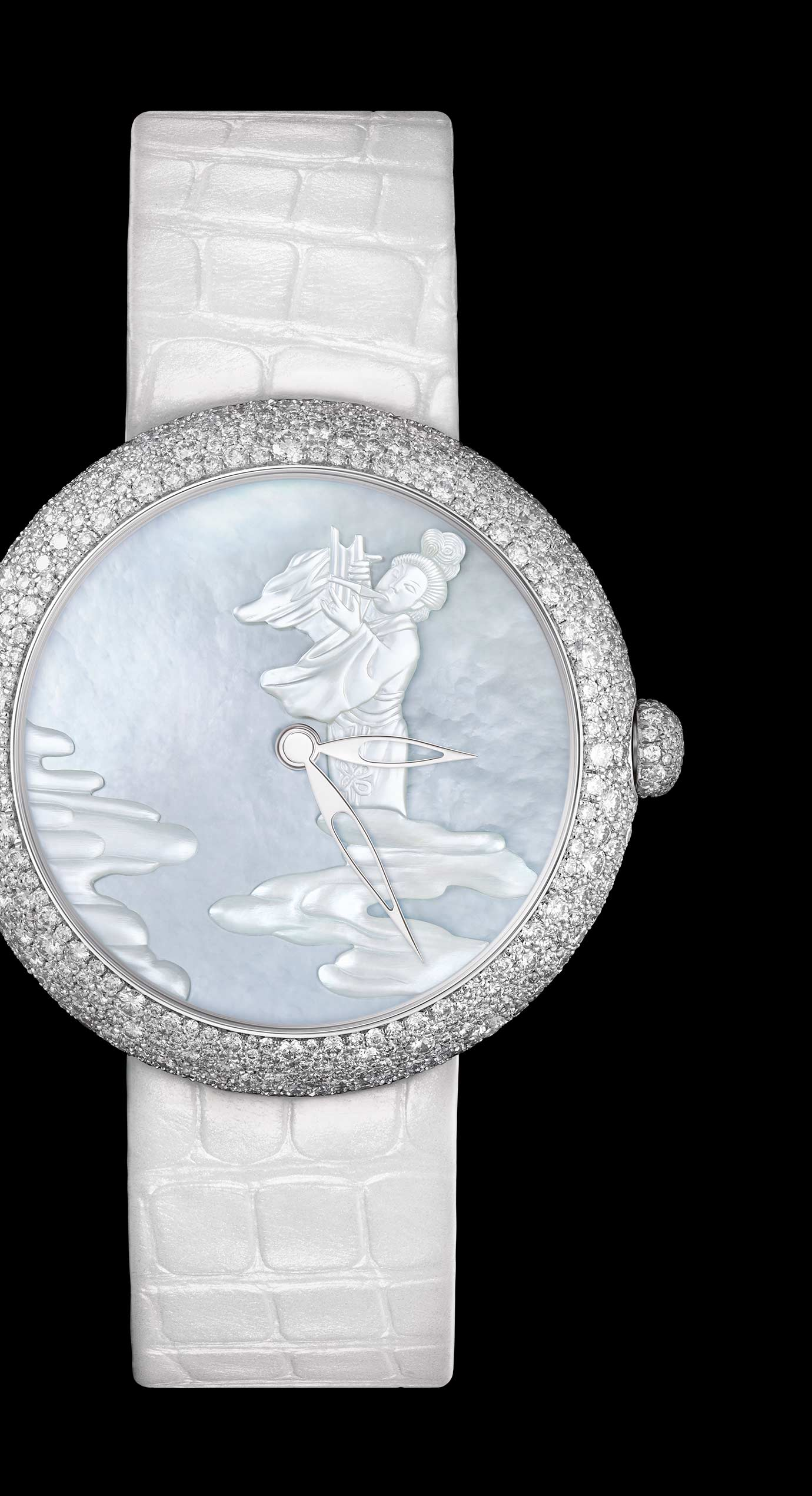 Mademoiselle Privé Coromandel 'Douce Mélodie' watch in white gold with snow set diamonds. Miniatures produced in Grand Feu enamel according to the Geneva technique and carved mother-of-pearl. - Enlarged view