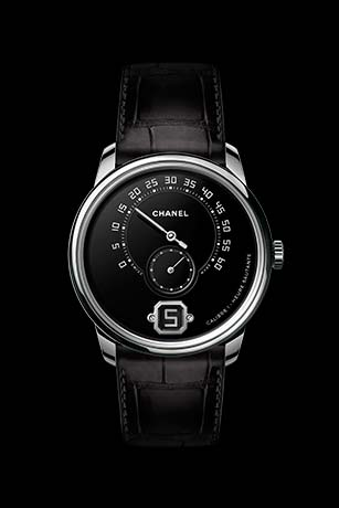 Monsieur watch in platinum, Grand Feu enamel dial with jumping hour, 240° retrograde minutes and small second counter