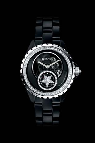 J12 Tourbillon Volant Squelette en or blanc 18 carats et céramique high-tech* noire serties de diamants.