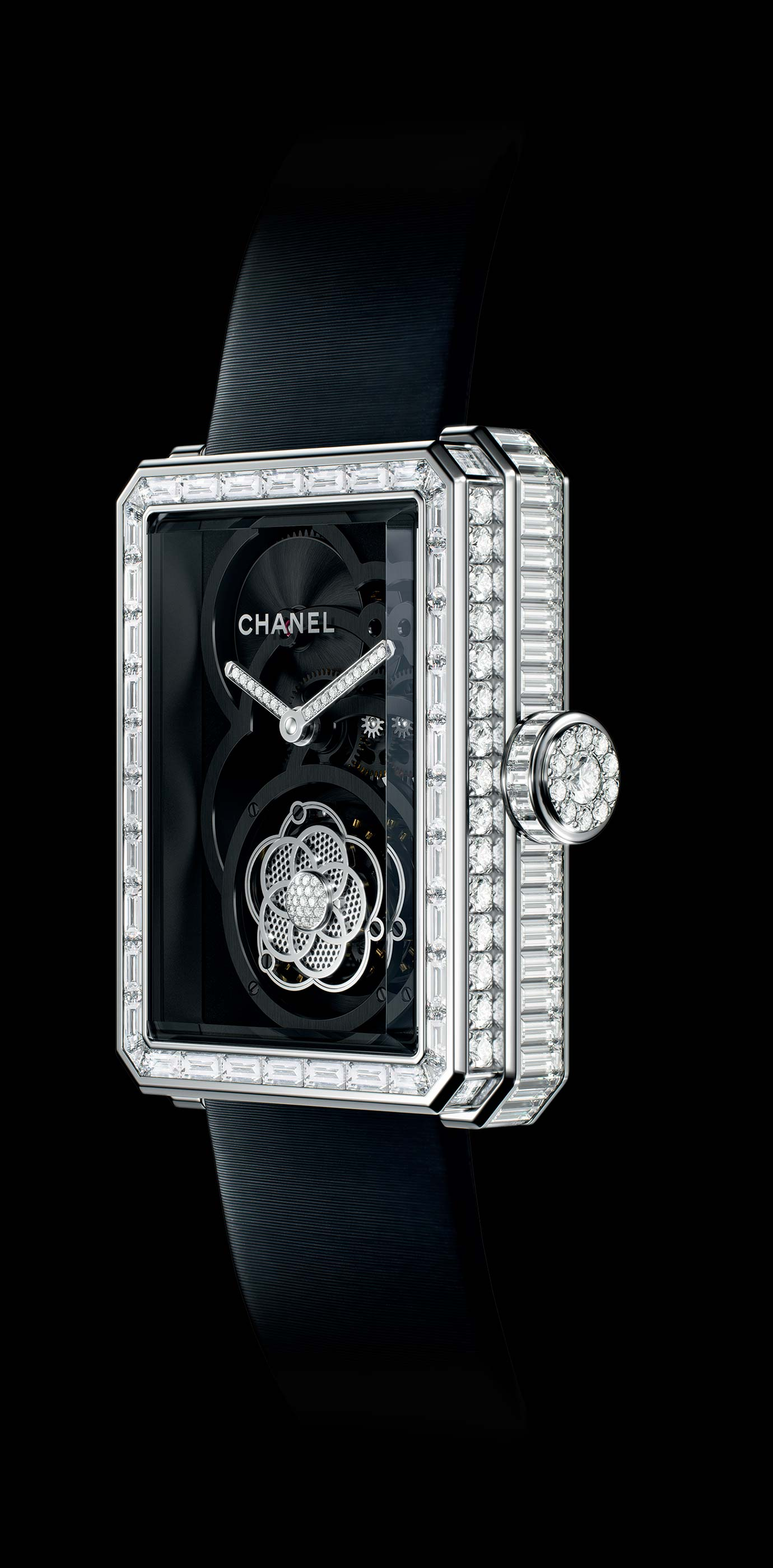 Première Flying Tourbillon Openwork watch in white gold, case, bezel and crown set with baguette- and brilliant-cut diamonds. Side view. - Enlarged view
