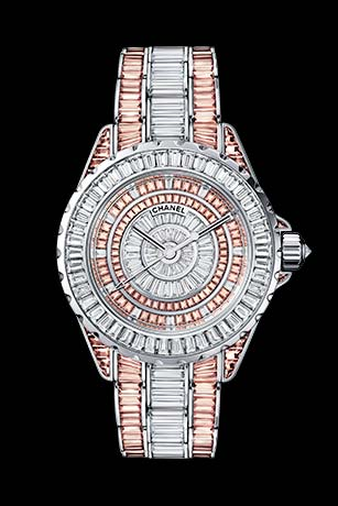 J12 High Jewellery in white gold, case, dial, bezel and bracelet set with baguette cut diamonds and cognac sapphires.