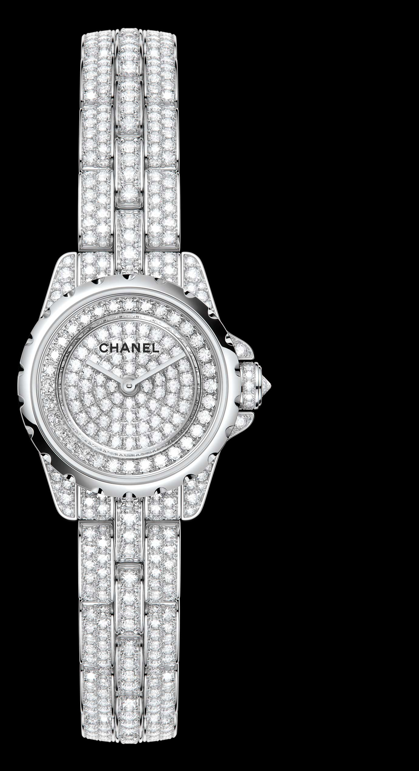 J12 XS High Jewellery in white gold, case, dial, bezel and bracelet set with brilliant cut diamonds. - Enlarged view