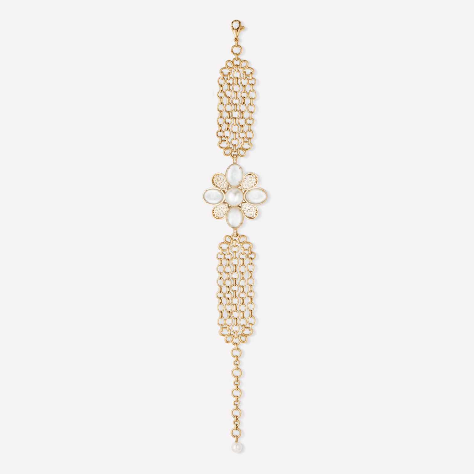 Baroque Bracelet Perles Chaînes bracelet in 18K yellow gold, diamonds, cultured pearls and semi-precious gemstones