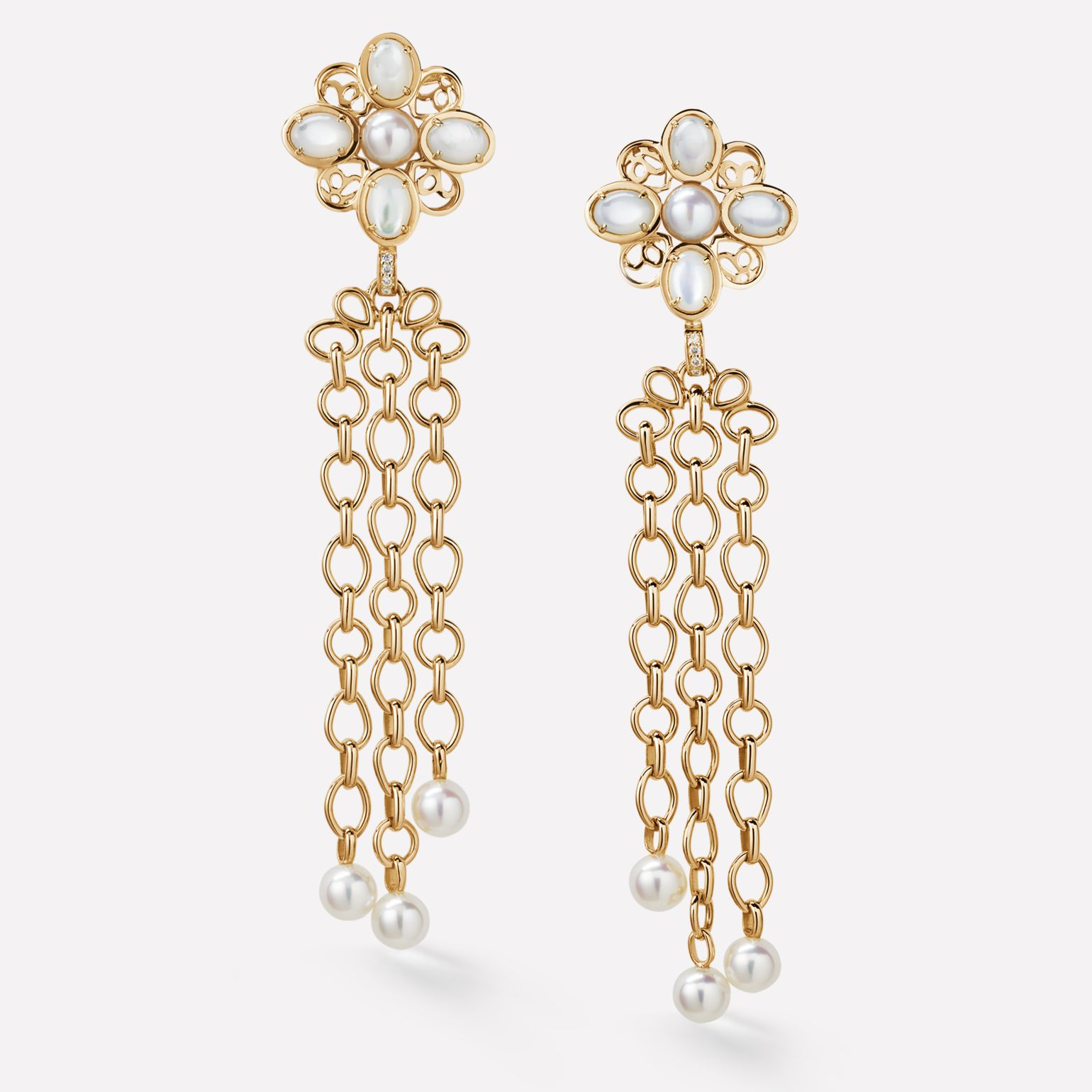 Baroque Earrings Perles Chaînes earrings in 18K yellow gold, diamonds, cultured pearls and semi-precious gemstones
