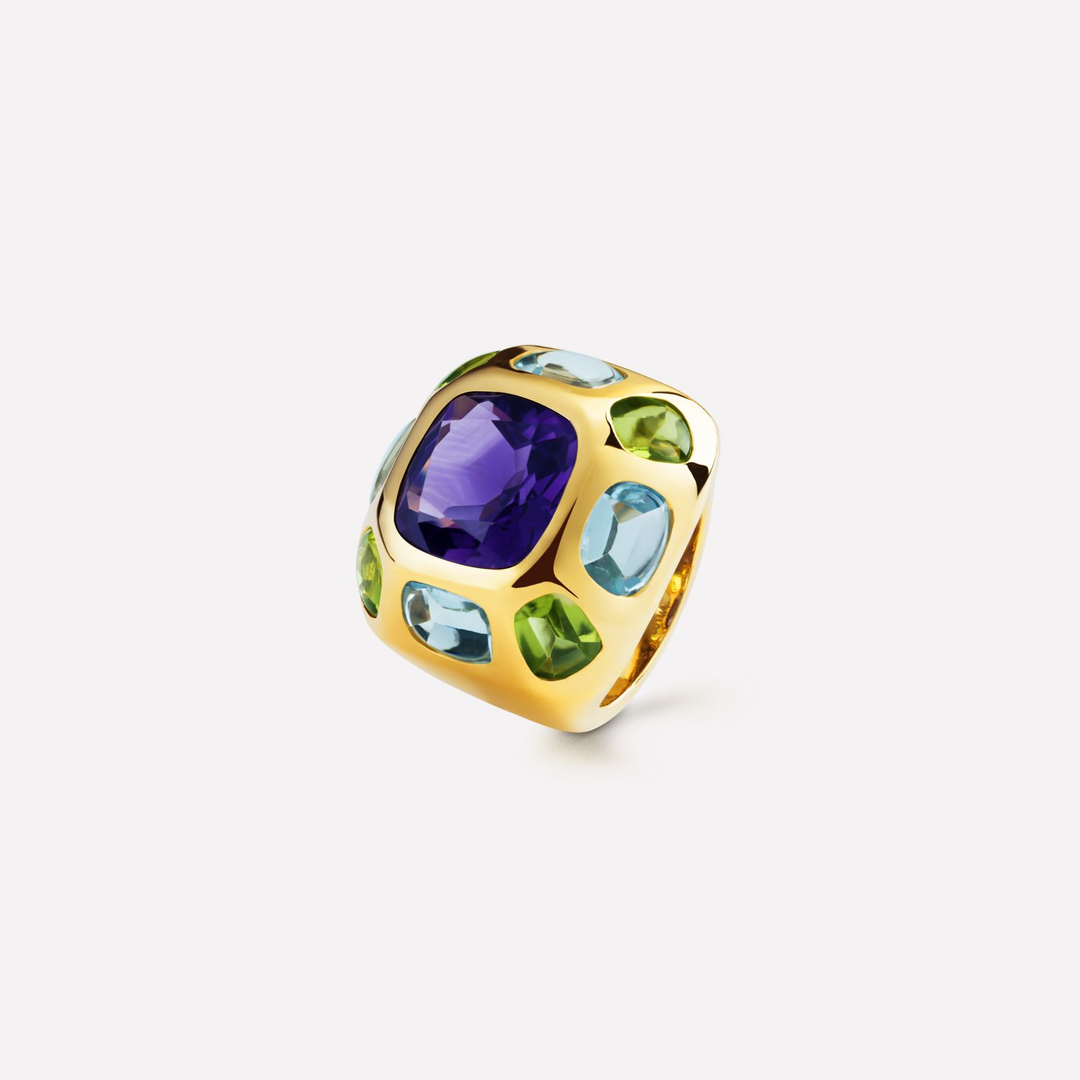Baroque Ring in 18K yellow gold, semi-precious gemstones and central gemstone