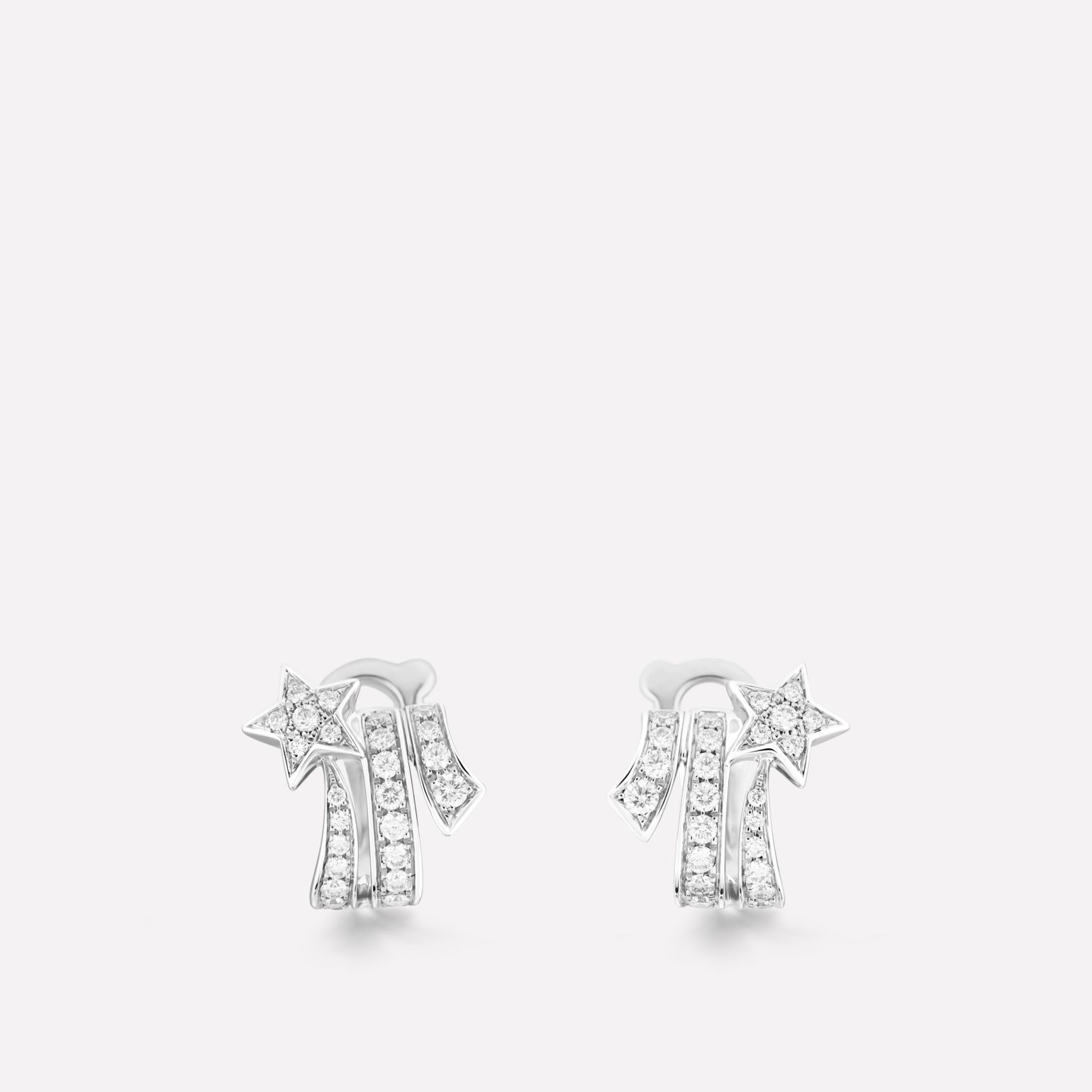 Boucles d'oreilles Étoile Filante Or blanc 18 carats, diamants