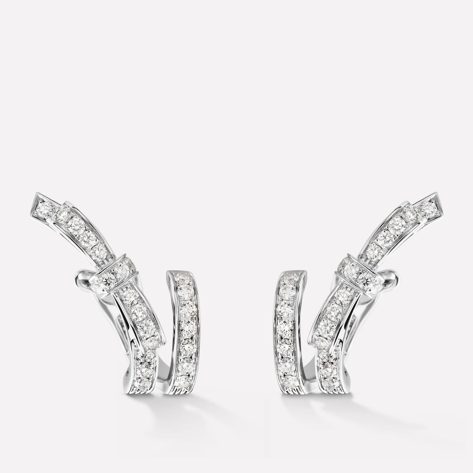 Boucles d'oreilles Ruban Or blanc 18 carats, diamants