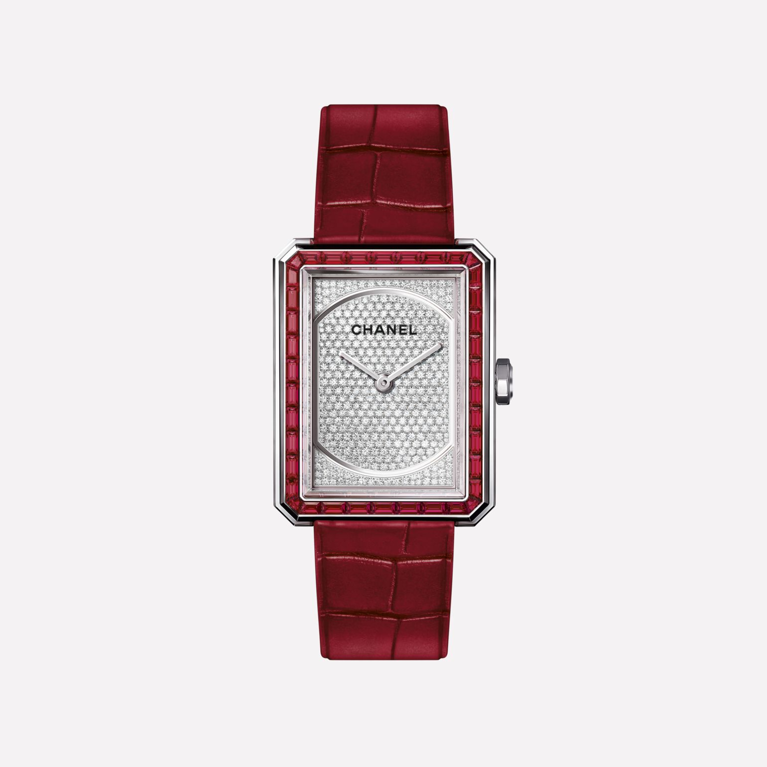 BOY·FRIEND RUBIS Medium version, white gold set with rubies and diamonds and alligator strap