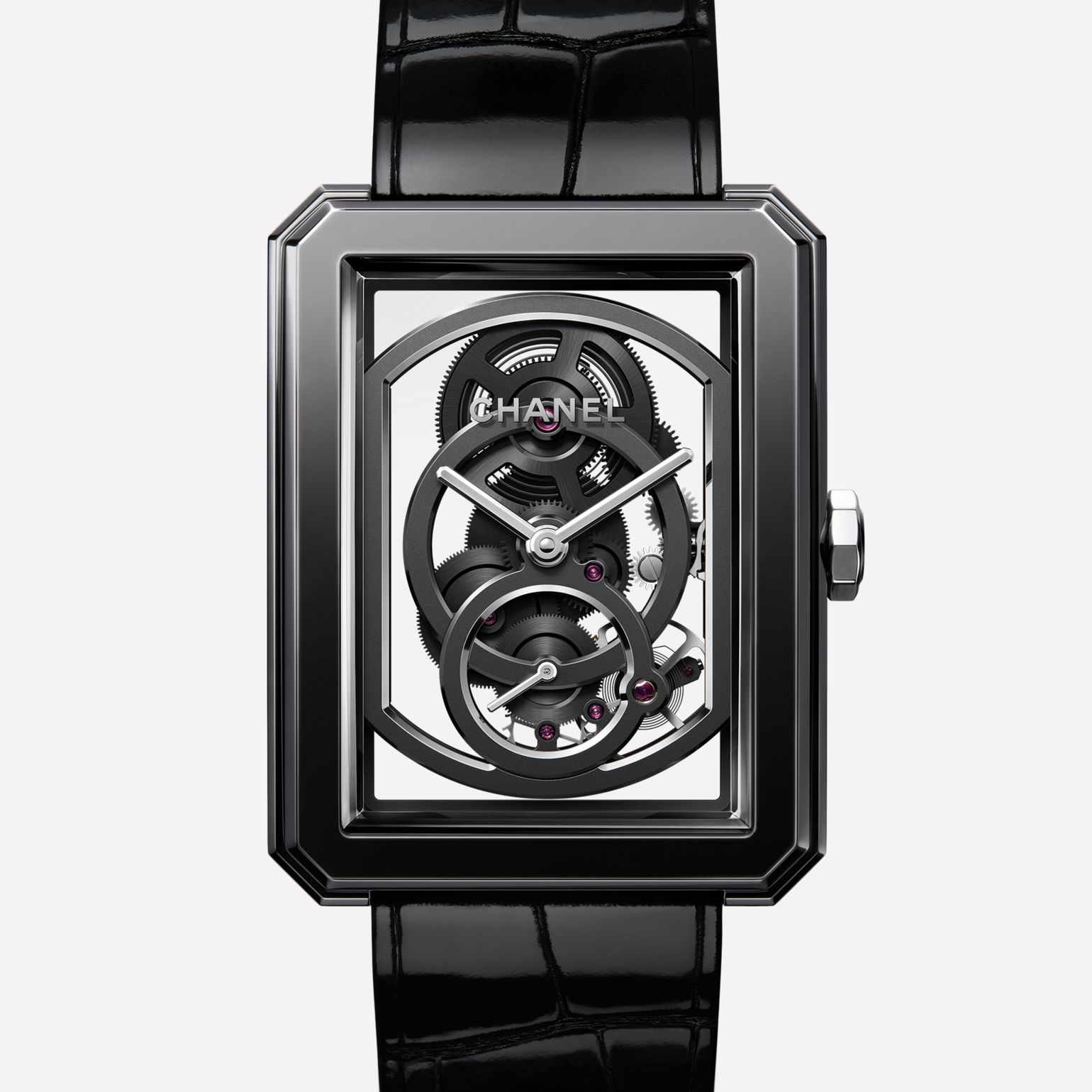 BOY·FRIEND Skeleton Watch Black highly resistant ceramic, steel and shiny alligator strap. Large version.