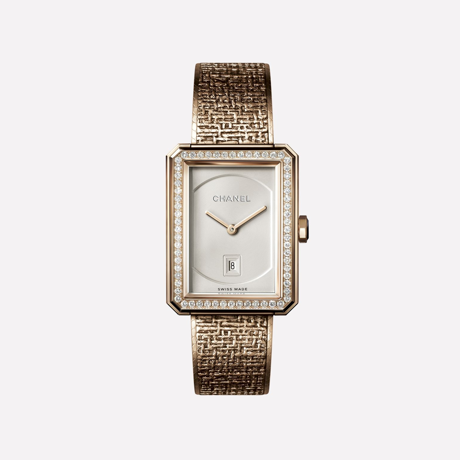 BOY·FRIEND TWEED Watch Medium version, BEIGE GOLD set with diamonds