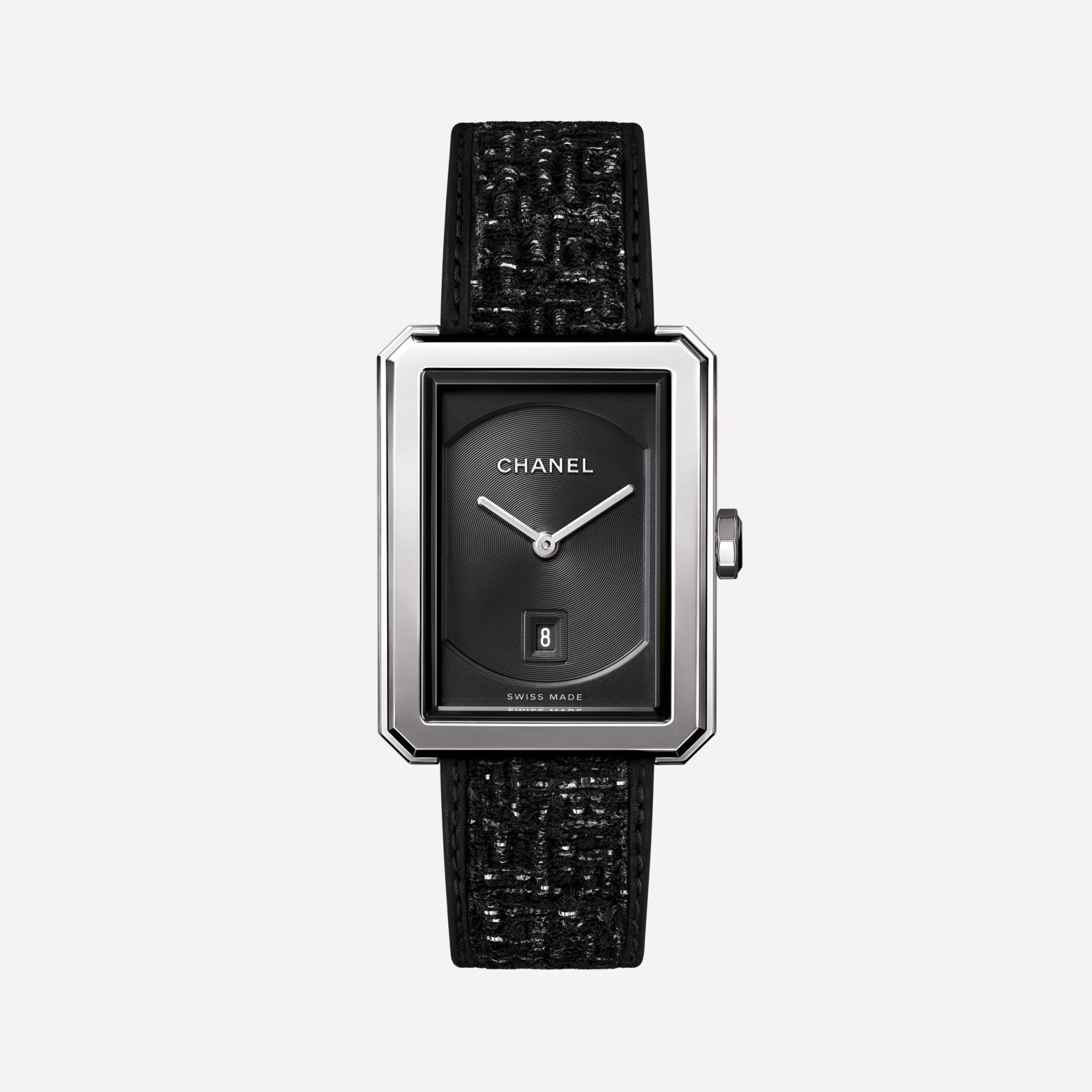 BOY·FRIEND TWEED Watch Medium version, steel, tweed fabric and leather strap