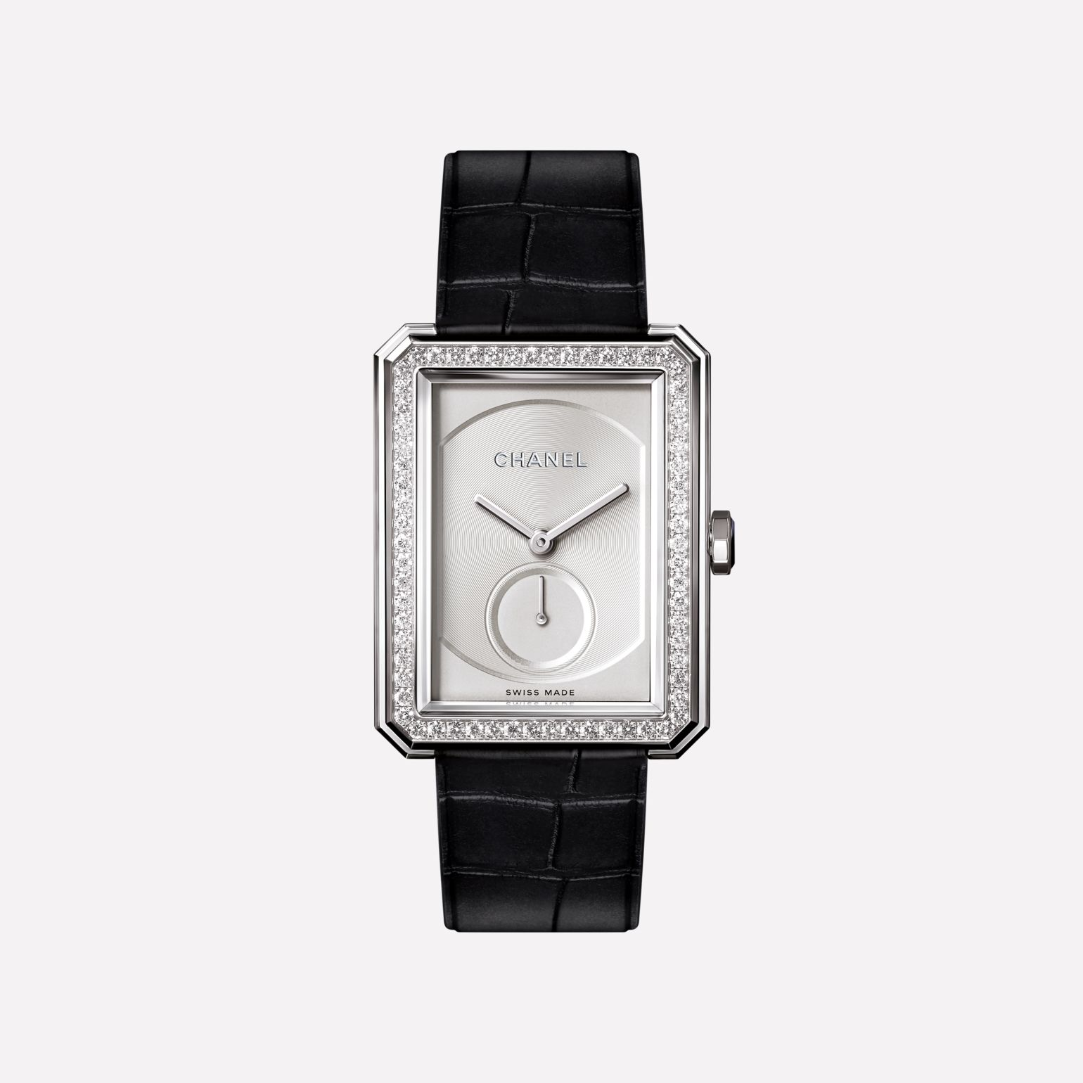 BOY·FRIEND Watch Large version, white gold set with diamonds and alligator strap
