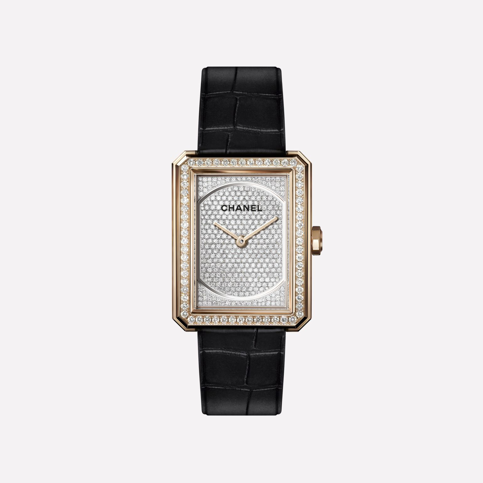 BOY·FRIEND Watch Medium version, BEIGE GOLD and dial set with diamonds, shiny alligator strap