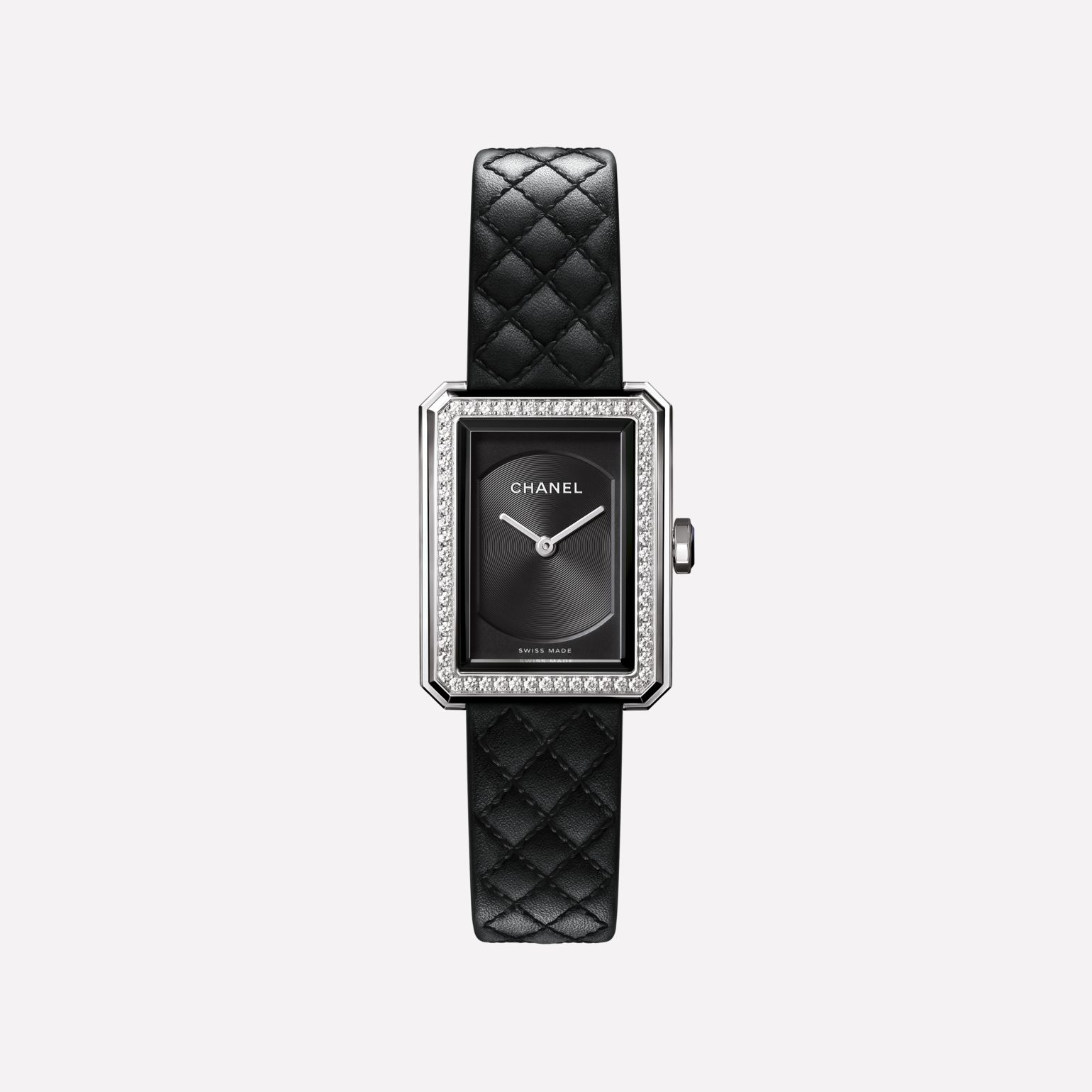 BOY·FRIEND Watch Small version, steel and diamonds, quilted pattern calfskin strap