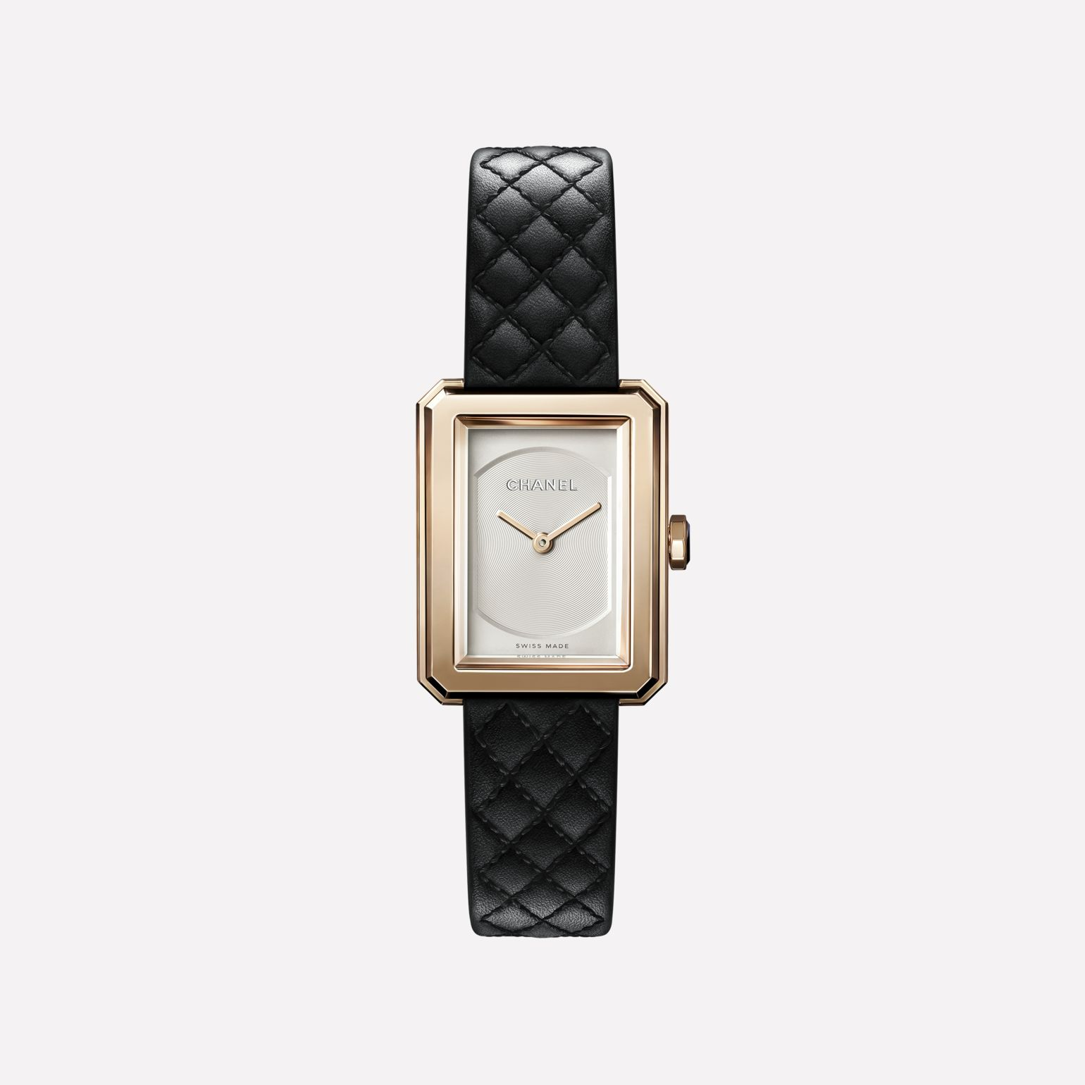 BOY·FRIEND watch Small version, BEIGE GOLD and quilted pattern calfskin strap