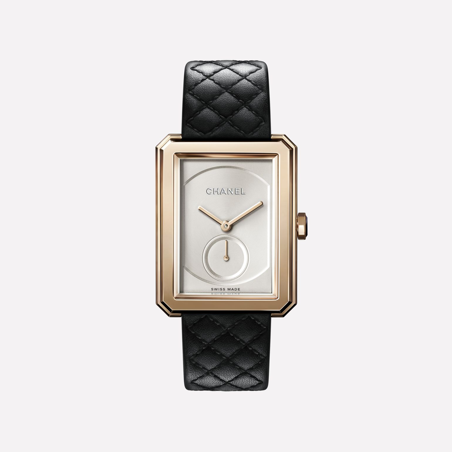 BOY·FRIEND Watch Large version, BEIGE GOLD and quilted pattern calfskin strap
