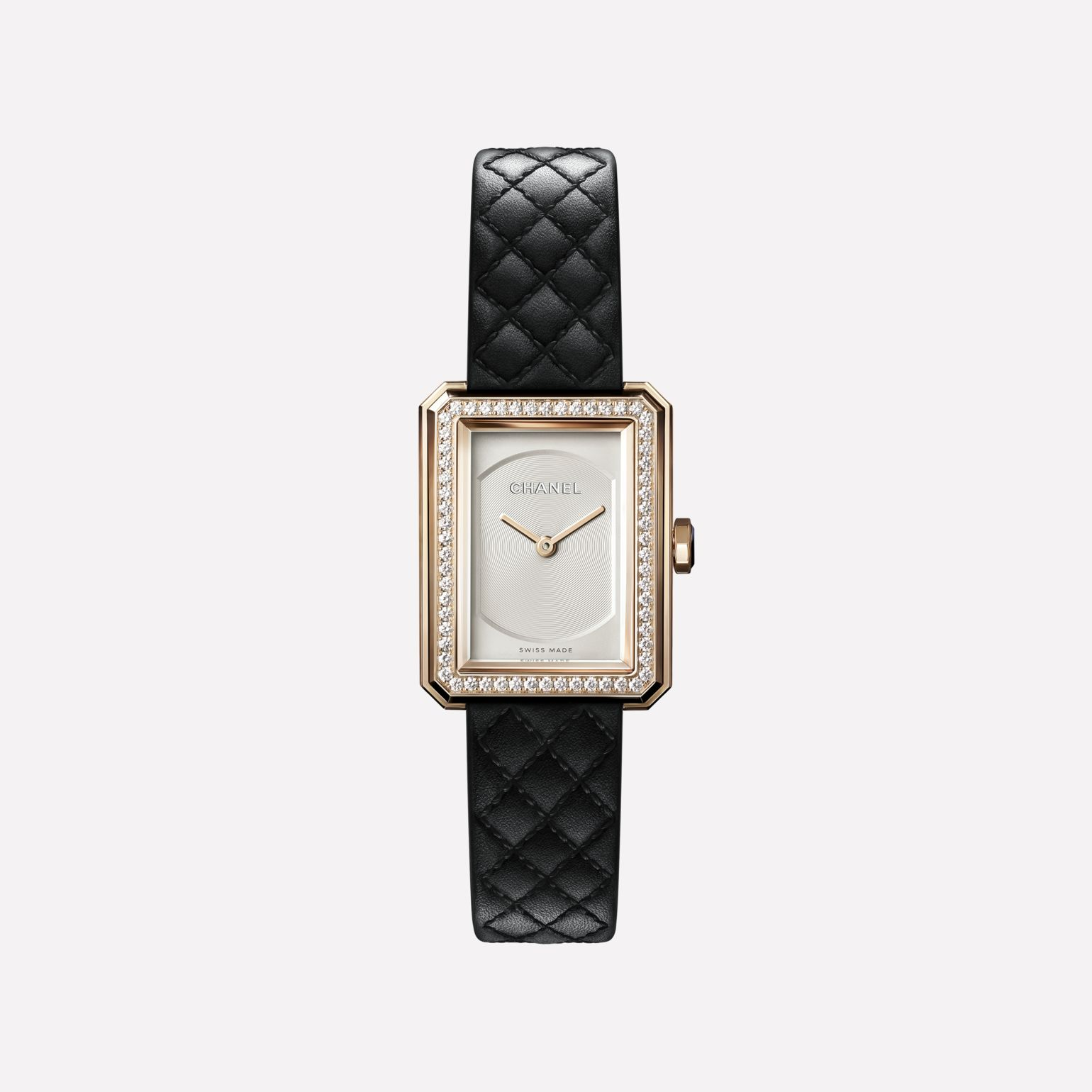 BOY·FRIEND watch Small version, BEIGE GOLD and diamonds, quilted pattern calfskin strap