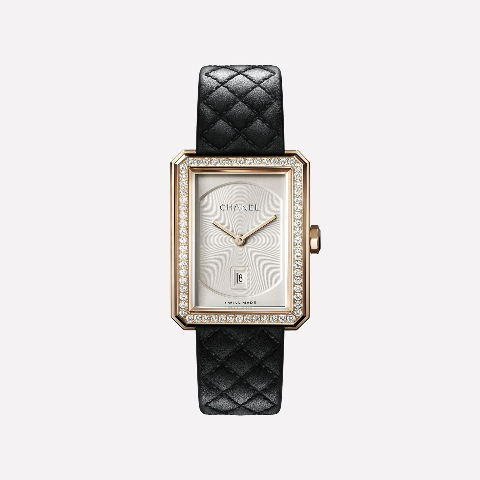 BOY·FRIEND Watch Medium version, BEIGE GOLD and diamonds, quilted pattern calfskin strap