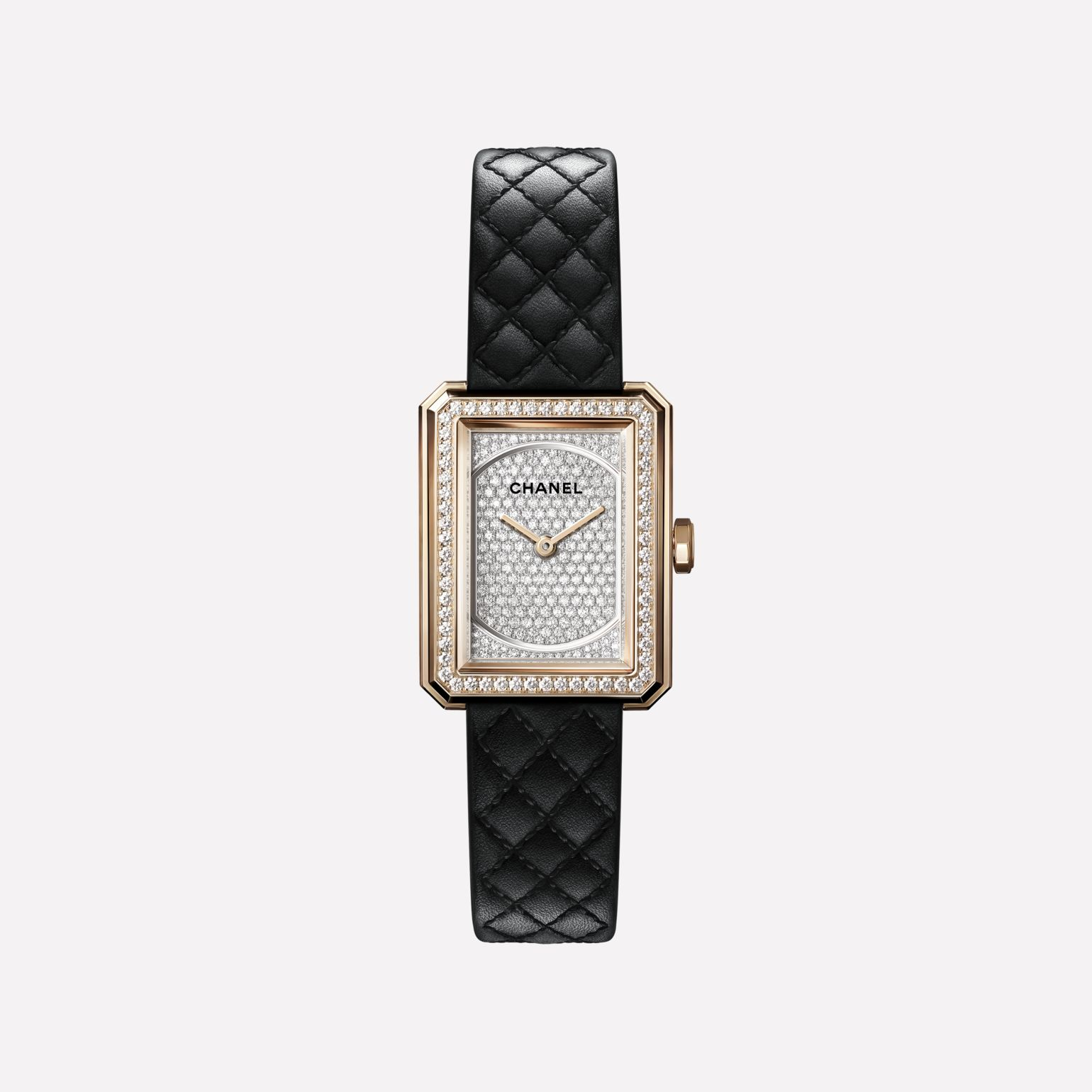 BOY·FRIEND Watch Small version, BEIGE GOLD and diamonds, alligator pattern calfskin strap