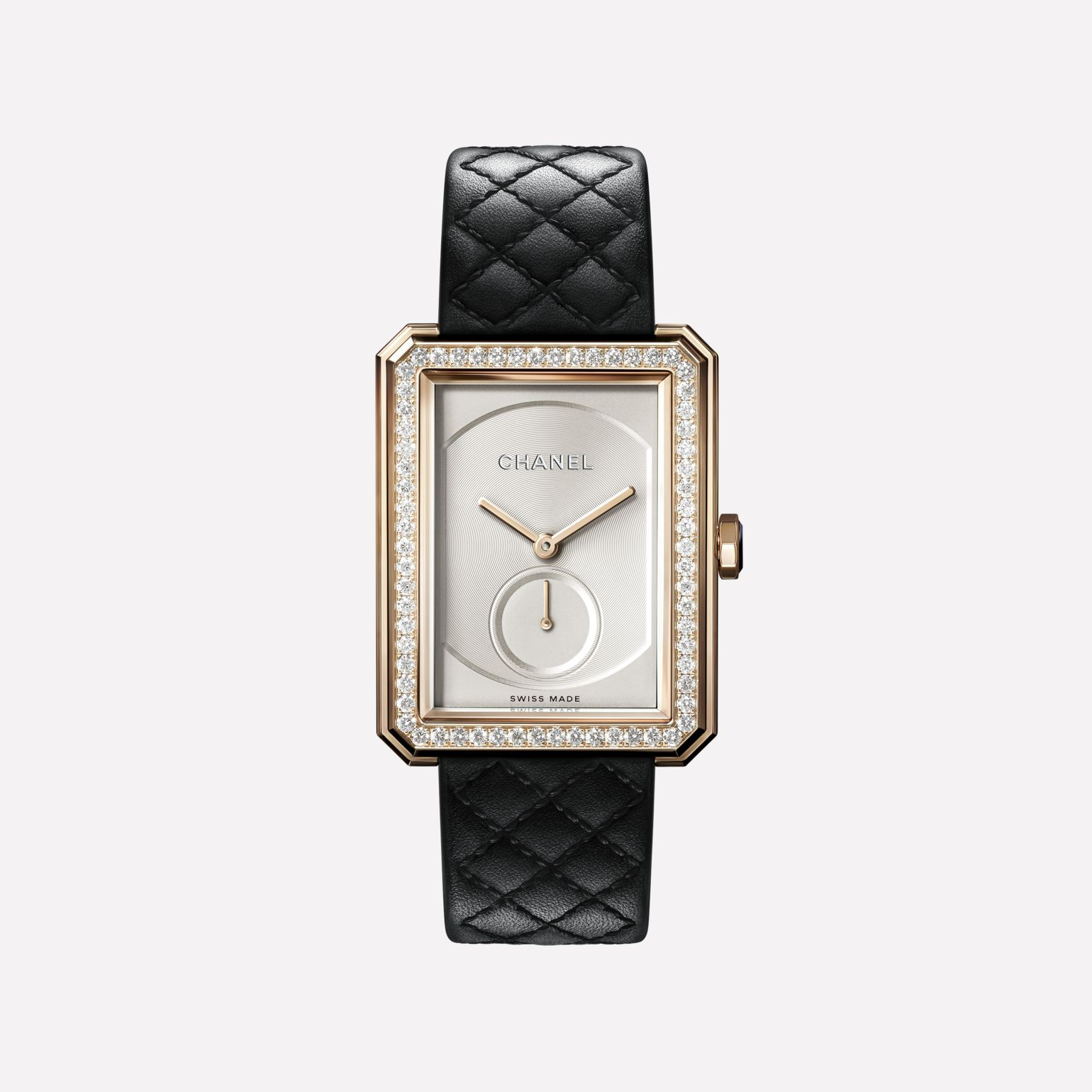 BOY·FRIEND Watch Large version, BEIGE GOLD and diamonds, quilted pattern calfskin strap