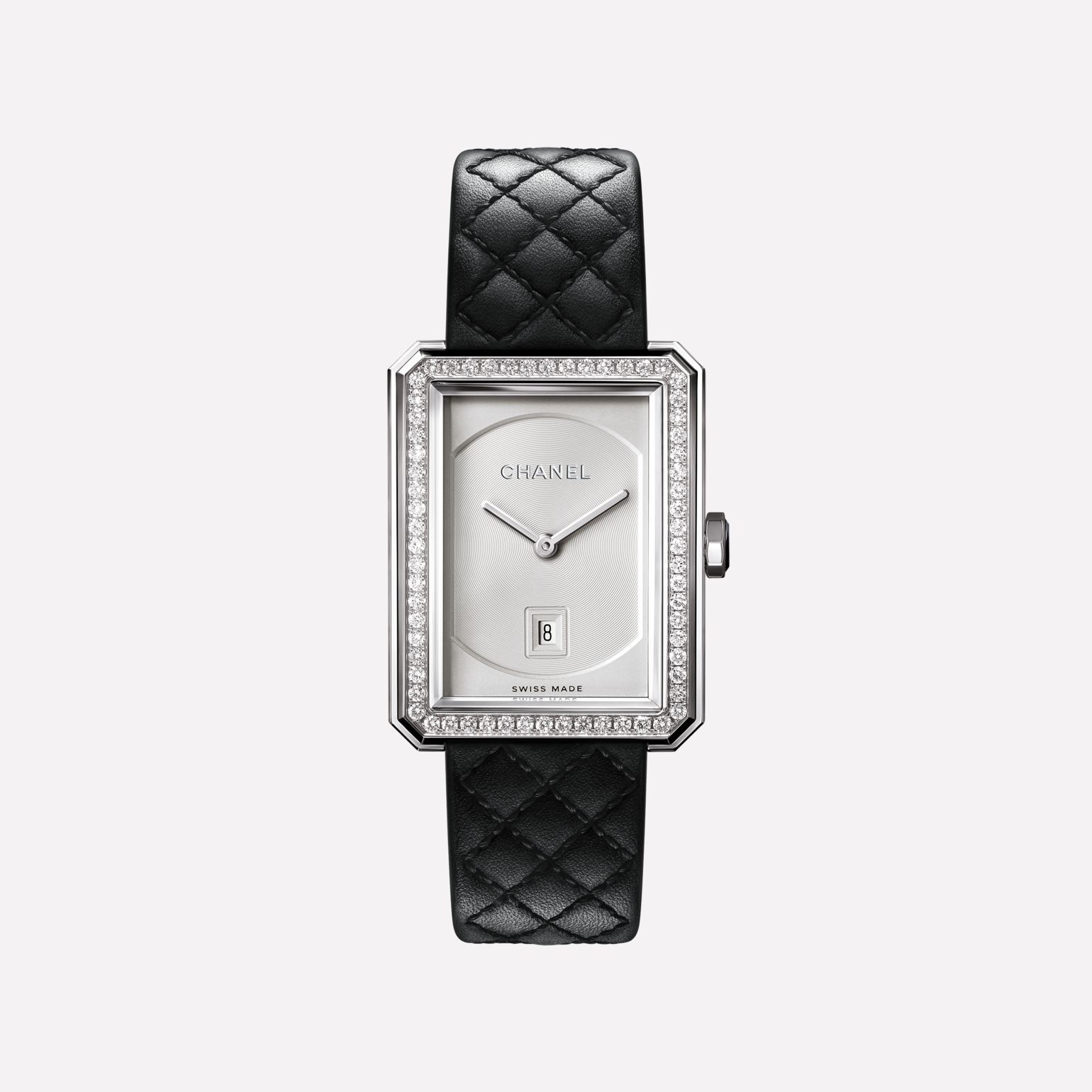 BOY·FRIEND Watch Medium version, white gold and diamonds, quilted pattern calfskin strap