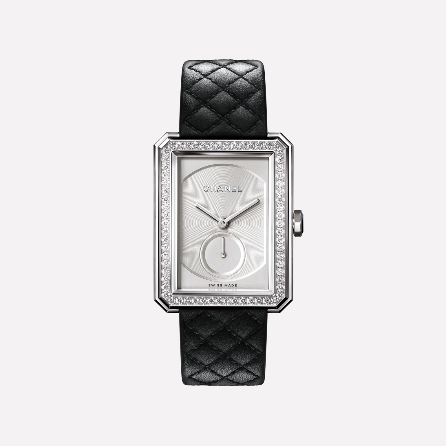 BOY·FRIEND Watch Large version, white gold and diamonds, quilted pattern calfskin strap
