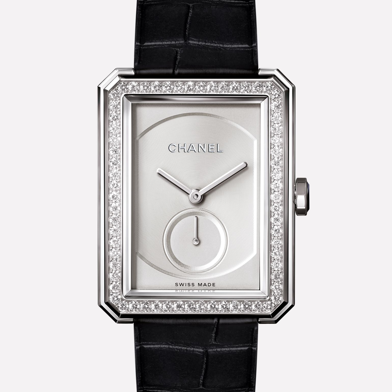 BOY∙FRIEND Large version, white gold set with diamonds and alligator strap