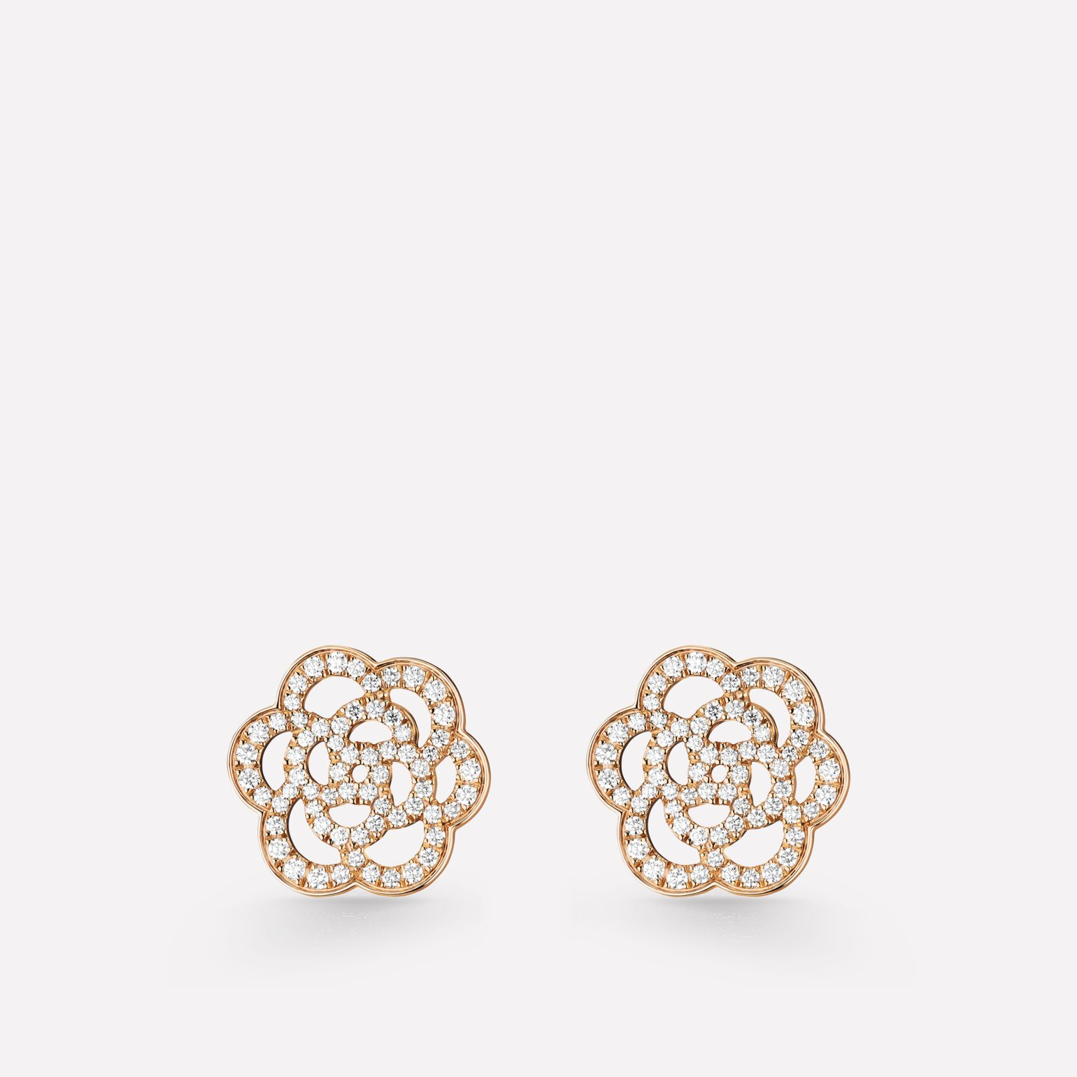 Camélia Ajouré earrings 18K pink gold, diamonds