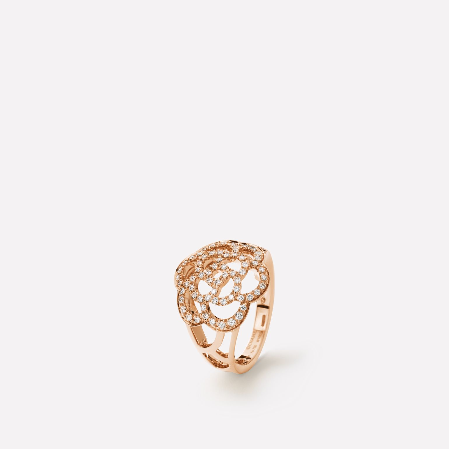 Camélia Ajouré ring 18K pink gold, diamonds