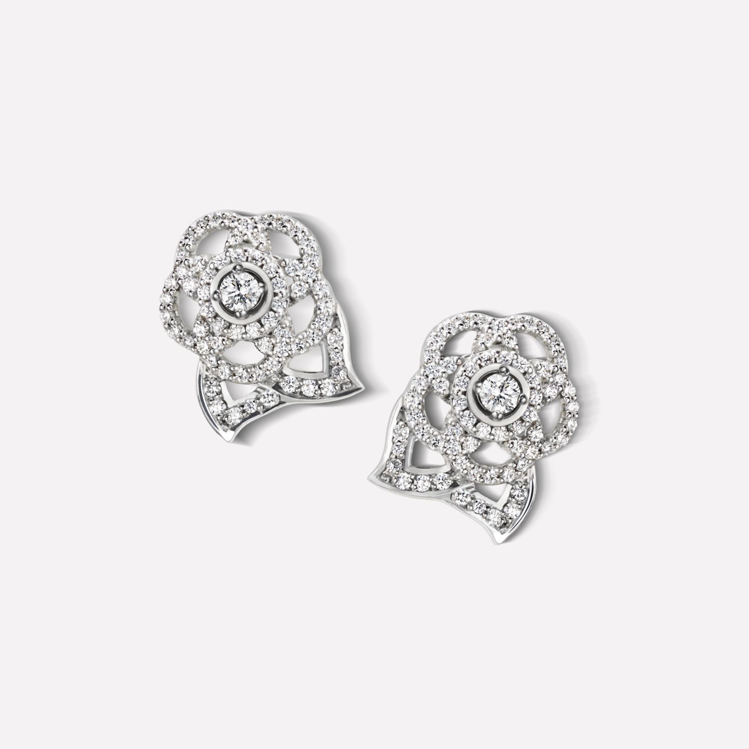 Camélia Earrings Camélia Brodé earrings in 18K white gold, diamonds and central diamond