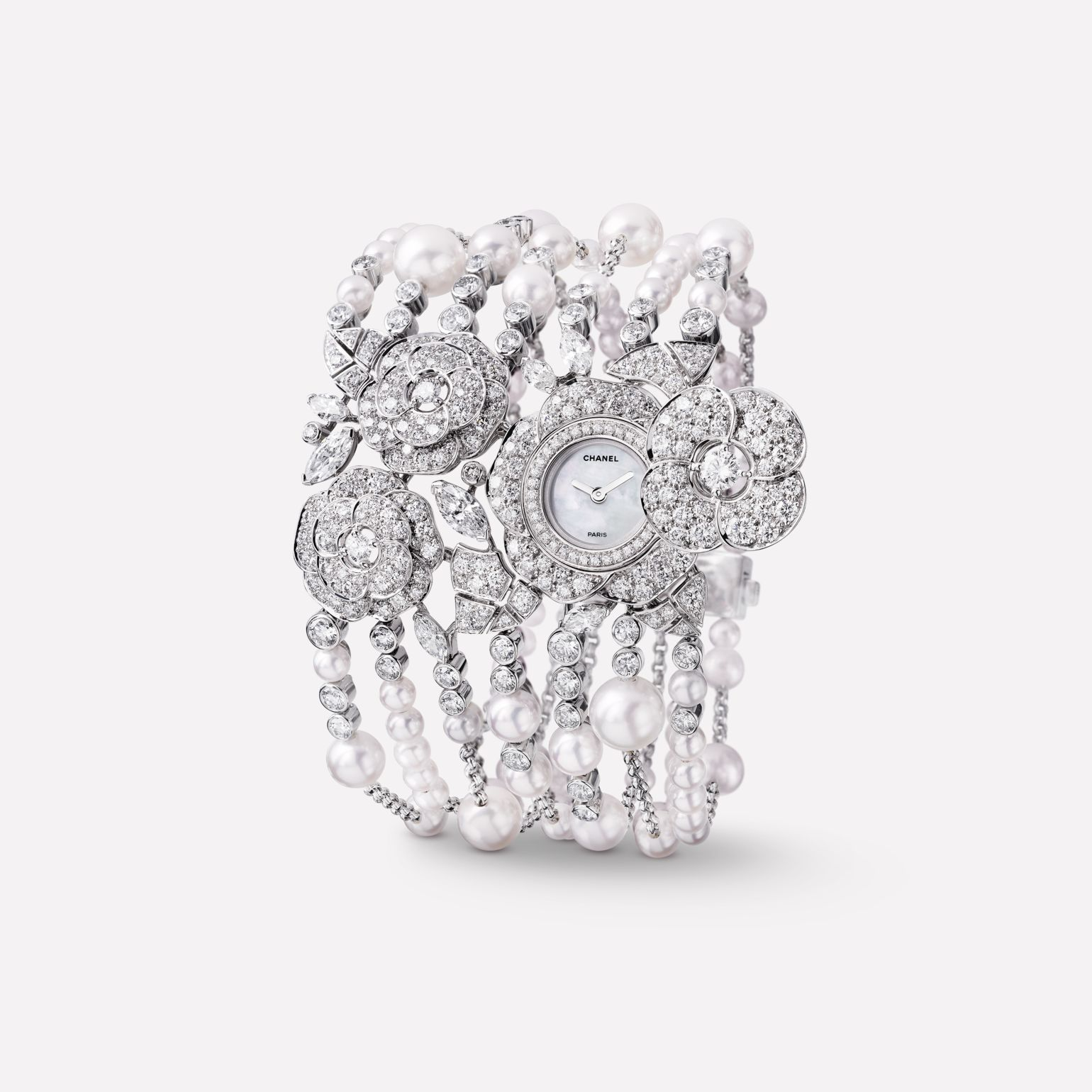 Camélia Jewellery Watch Secret watch with camellia bud motif in 18K white gold, diamonds and cultured pearls