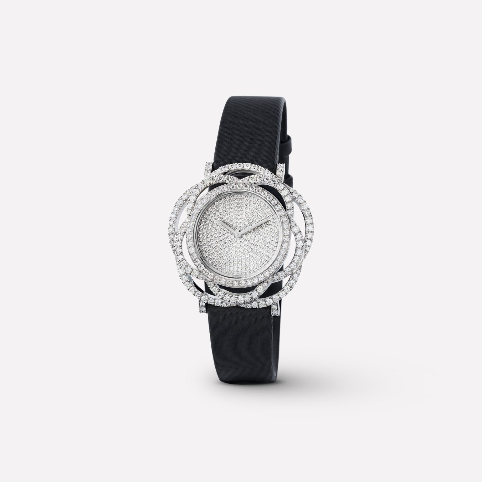 Camélia Jewelry Watch Embroidered camellia motif in 18K white gold and diamonds with pavé dial