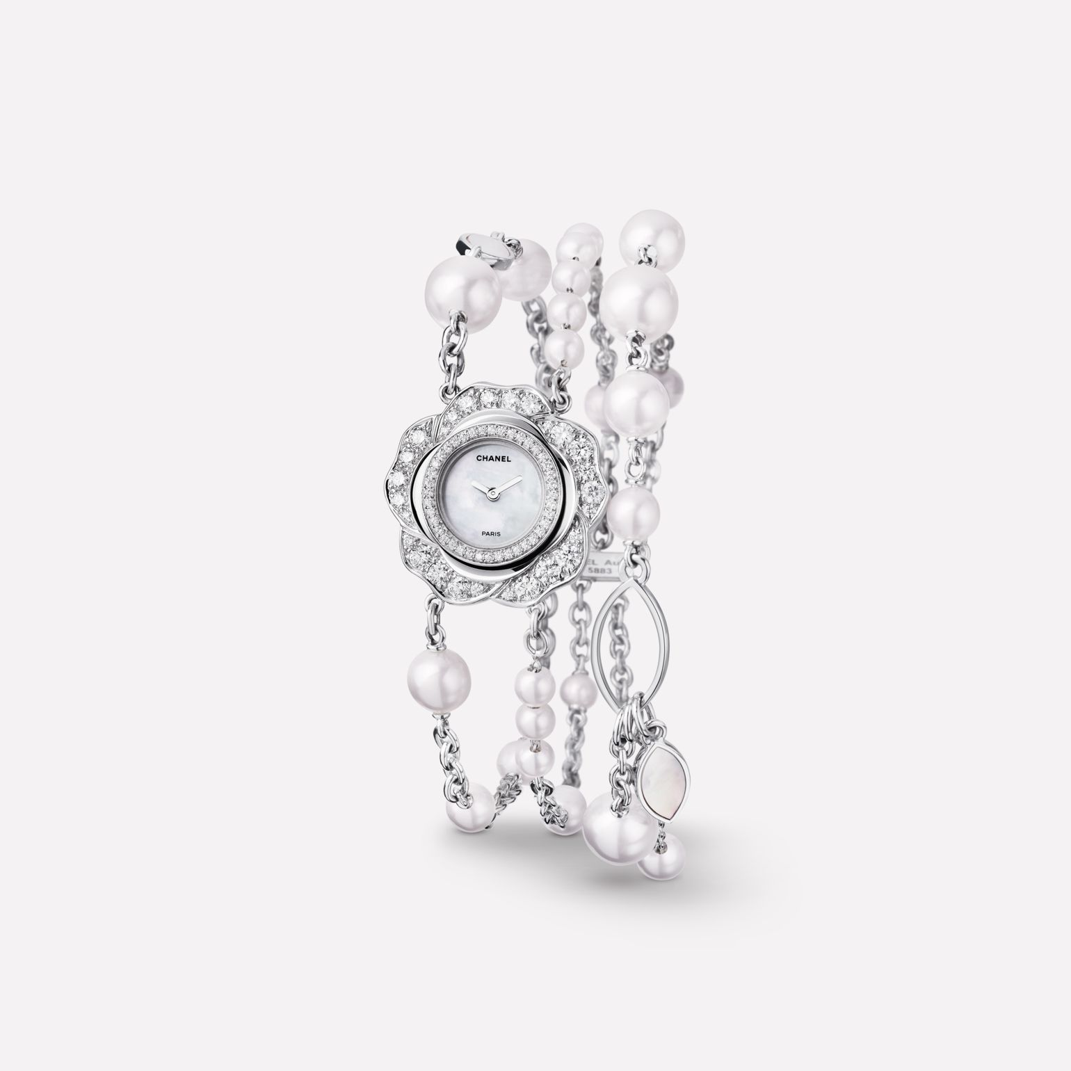 Camélia Jewelry Watch Camellia bud motif in 18K white gold, diamonds, and cultured pearls bracelet