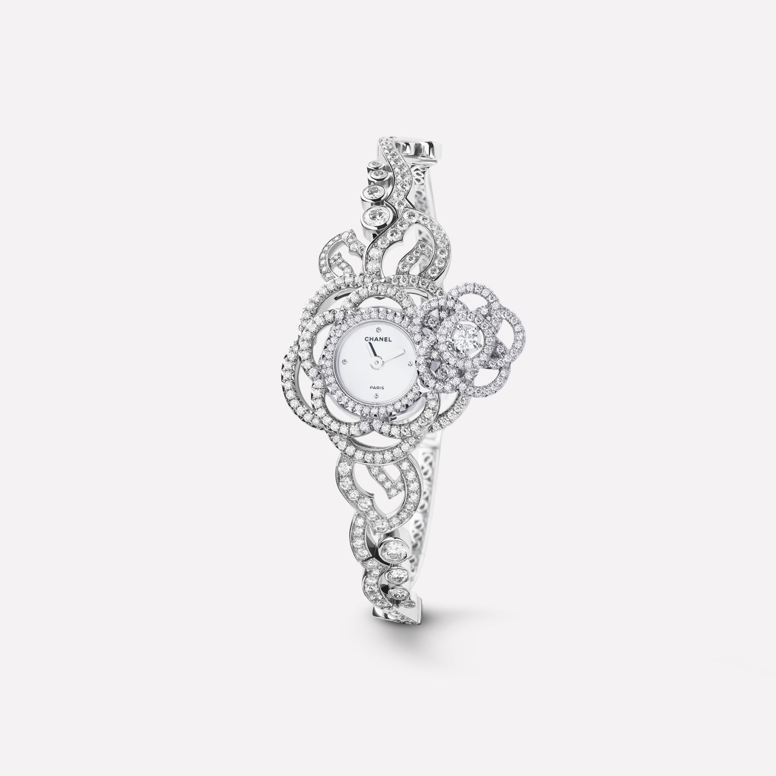 Camélia Jewelry Watch Secret watch with embroidered camellia motif in 18K white gold and diamonds with diamond bracelet - Medium version