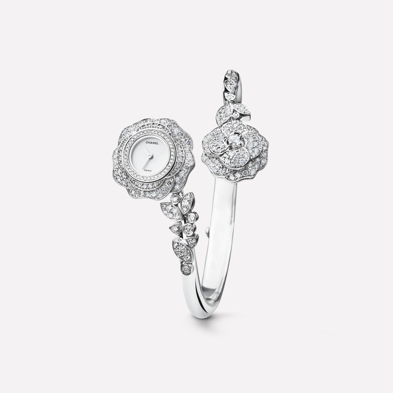 Camélia Jewelry Watch Camellia bud motif in 18K white gold and diamonds