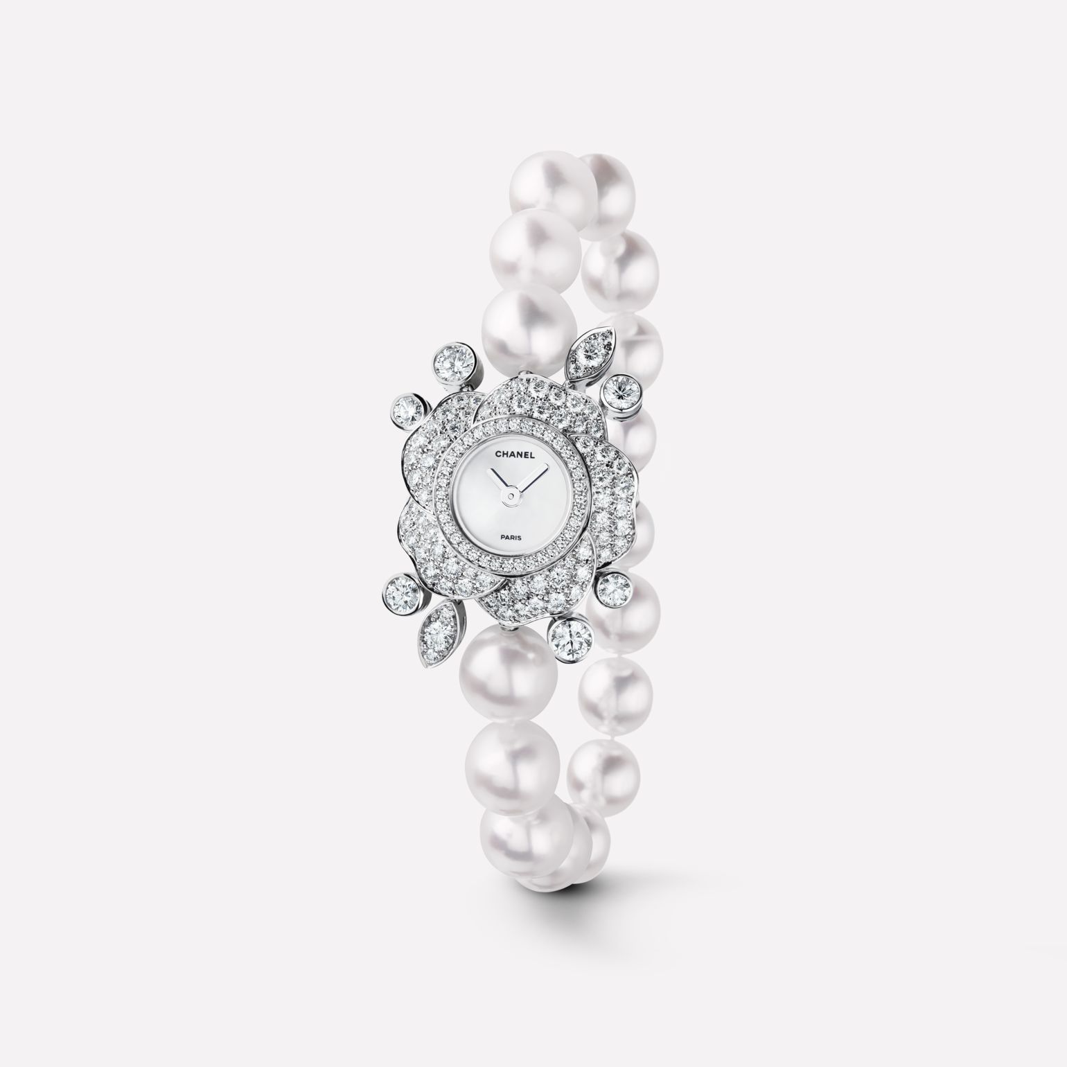 Camélia Jewelry Watch Camellia motif in 18K white gold with diamonds, and cultured pearls