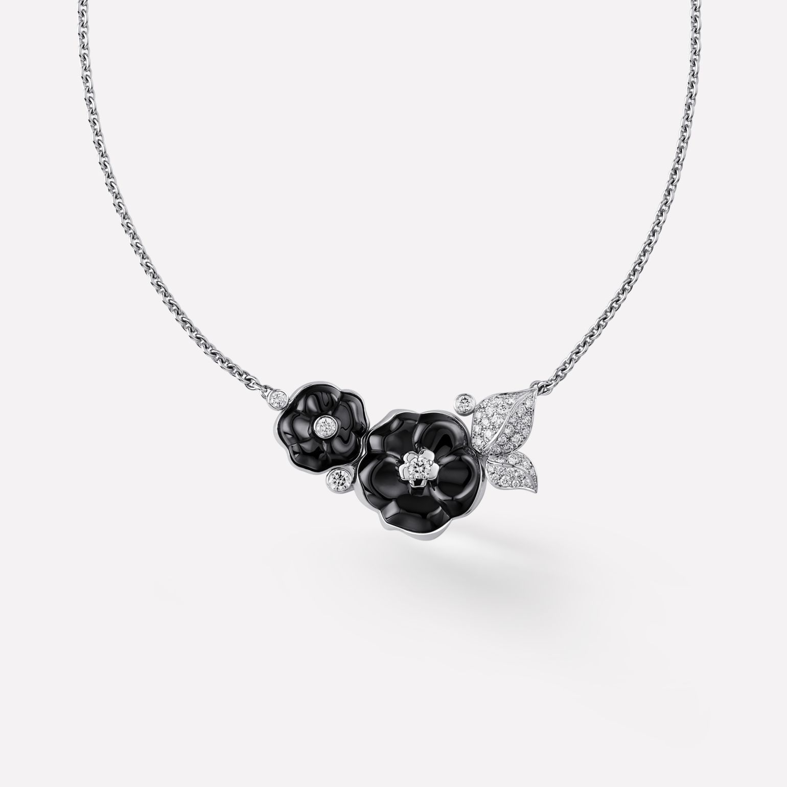 Camélia Necklace Camélia Galbé bouquet necklace in black ceramic, 18K white gold, diamonds and central diamond