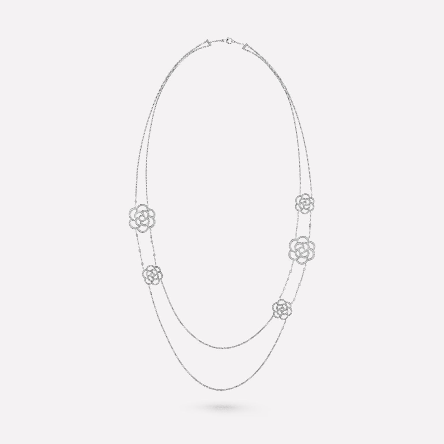 Camélia necklace Camélia Ajouré two-row necklace, in 18K white gold and diamonds