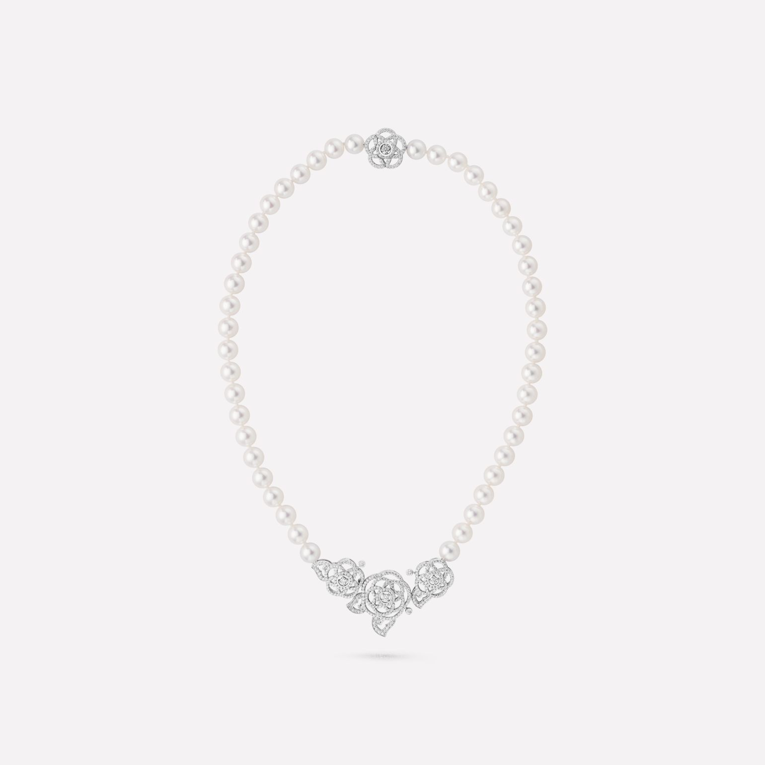 Camélia necklace Camélia Brodé bouquet necklace in 18K white gold, diamonds and cultured pearls