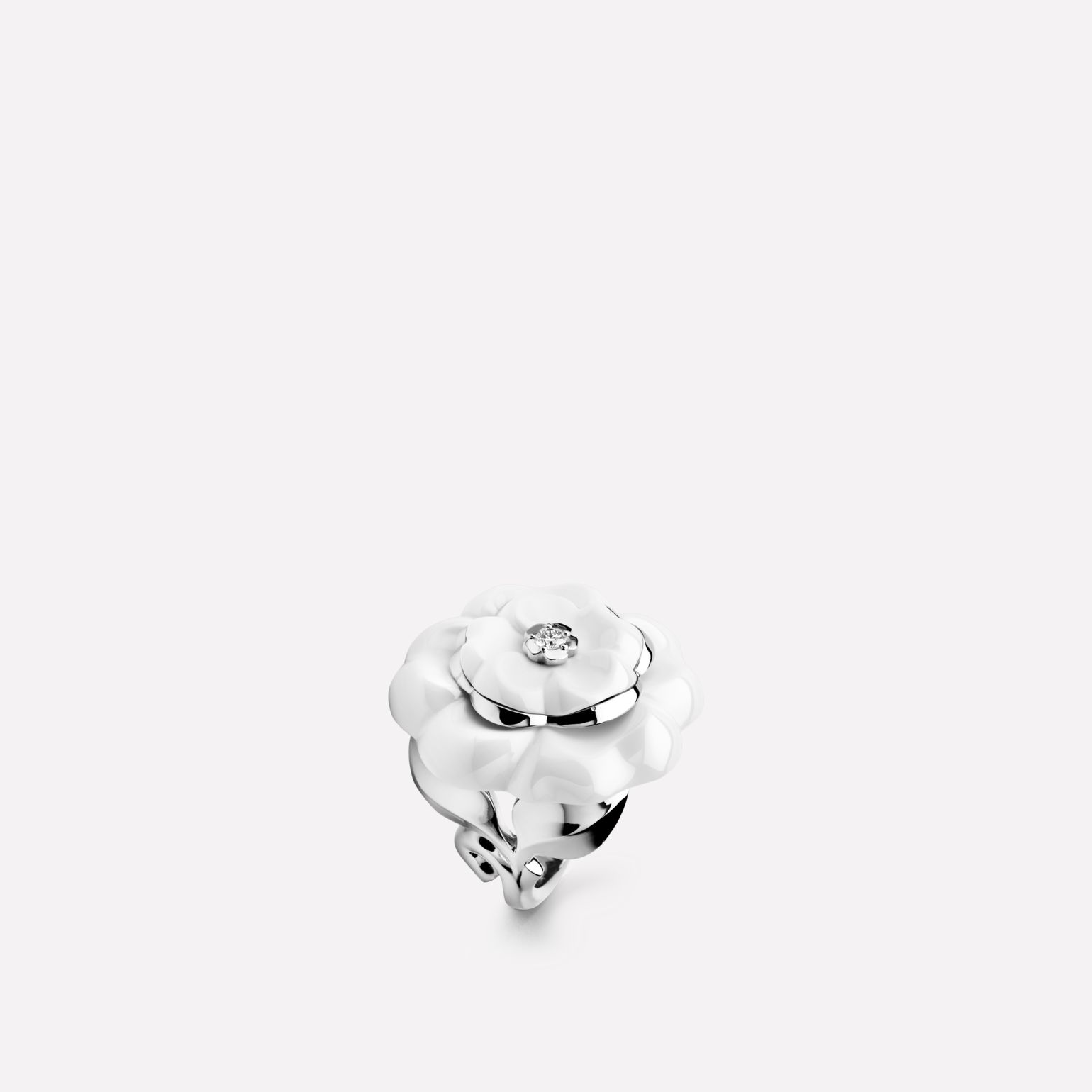 Camélia ring Camélia Galbé ring in white ceramic, 18K white gold with one center diamond